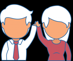 Relationship issues, man and woman holding up hands